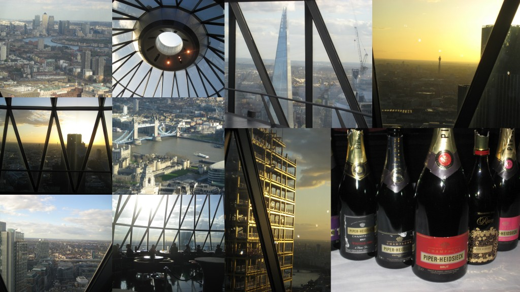 Gherkin champagne tasting collage