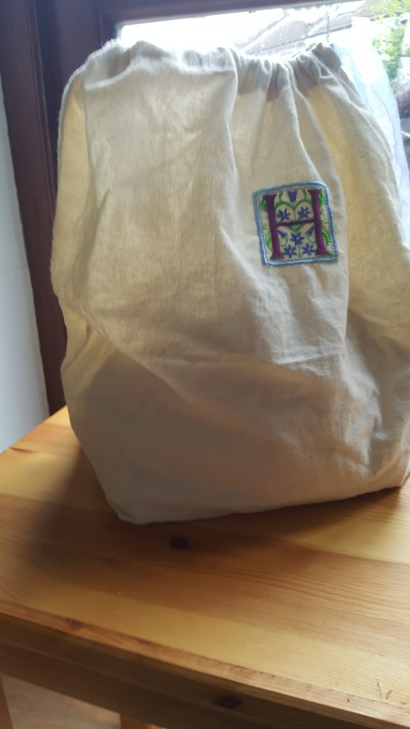 converted linen shopper to project bag